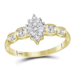 0.11 CTW Prong-set Diamond Oval Cluster Ring 10KT Yellow Gold - REF-10H5M