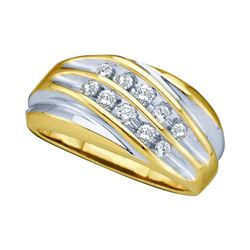0.50 CTW Mens Diamond Wedding Anniversary Ring 10KT Yellow Two-tone Gold - REF-44W9K
