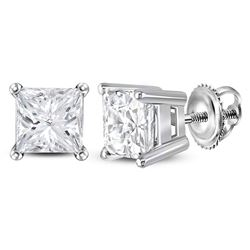 1.46 CTW Princess Diamond Solitaire Stud Earrings 14KT White Gold - REF-307W4K