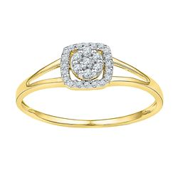 0.10 CTW Diamond Square Cluster Ring 10KT Yellow Gold - REF-10N5F