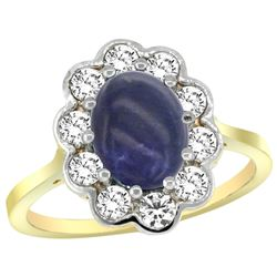 Natural 2.38 ctw Lapis-lazuli & Diamond Engagement Ring 14K Yellow Gold - REF-79A6V