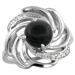 Natural 2.57 ctw onyx & Diamond Engagement Ring 14K White Gold - REF-55V4F