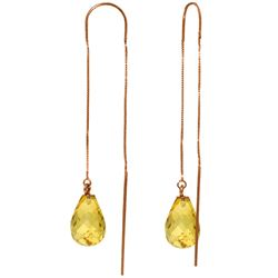 Genuine 4.5 ctw Citrine Earrings Jewelry 14KT Rose Gold - REF-20A4K