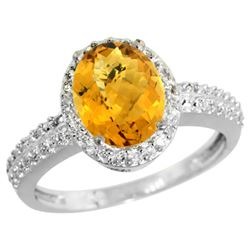 Natural 1.91 ctw Whisky-quartz & Diamond Engagement Ring 10K White Gold - REF-31W4K