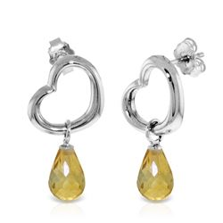Genuine 4.5 ctw Citrine Earrings Jewelry 14KT White Gold - REF-42A6K