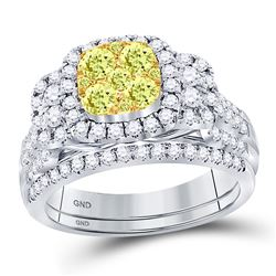 0.53 CTW Yellow Diamond Bridal Engagement Ring 14KT White Gold - REF-82N4F