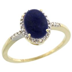 Natural 1.03 ctw Lapis & Diamond Engagement Ring 14K Yellow Gold - REF-22W3K