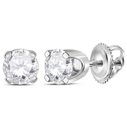 0.49 CTW Diamond Solitaire Stud Earrings 14KT White Gold - REF-52F4N