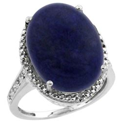 Natural 9.49 ctw Lapis & Diamond Engagement Ring 14K White Gold - REF-59K2R