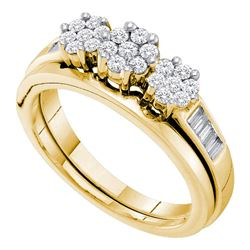 0.50 CTW Diamond Triple Cluster Bridal Engagement Ring 14KT Yellow Gold - REF-71Y3X