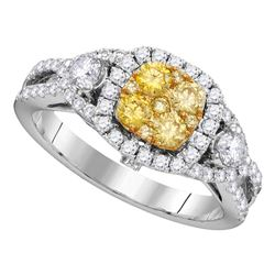 1.12 CTW Yellow Diamond Cluster Bridal Engagement Ring 14KT White Gold - REF-157F5N