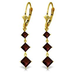 Genuine 4.79 ctw Garnet Earrings Jewelry 14KT Yellow Gold - REF-50Z2N
