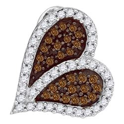0.33 CTW Cognac-brown Color Diamond Sideways Heart Love Pendant 10KT White Gold - REF-16M4H