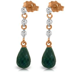 Genuine 6.9 ctw Green Sapphire Corundum & Diamond Earrings Jewelry 14KT Rose Gold - REF-44T9A