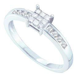 0.26 CTW Princess Diamond Square Cluster Ring 14KT White Gold - REF-34X4Y