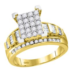 0.50 CTW Diamond Cluster Bridal Engagement Ring 10KT Yellow Gold - REF-42M7H