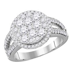 1.76 CTW Diamond Cluster Bridal Engagement Ring 14KT White Gold - REF-179Y9X