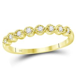 0.10 CTW Diamond Stackable Ring 10KT Yellow Gold - REF-12H8M