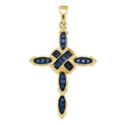 0.20 CTW Blue Color Diamond Cross Pendant 10KT Yellow Gold - REF-16F4N