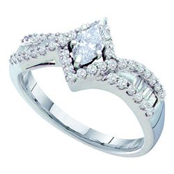 0.75 CTW Marquise Diamond Solitaire Bridal Engagement Ring 14KT White Gold - REF-119H9M