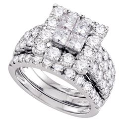 4 CTW Princess Diamond Square Halo 3-Piece Bridal Ring 14KT White Gold - REF-424M3H