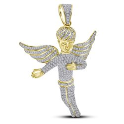 2.15 CTW Mens Diamond Angel Wings Charm Pendant 10KT Yellow Gold - REF-104W9K