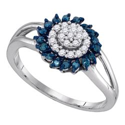 0.25 CTW Blue Color Diamond Circle Cluster Ring 10KT White Gold - REF-14X9Y
