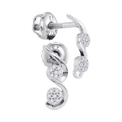 0.08 CTW Diamond Cradled Cluster Screwback Earrings 10KT White Gold - REF-10X5Y