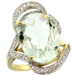 Natural 11.23 ctw green-amethyst & Diamond Engagement Ring 14K Yellow Gold - REF-104A5V