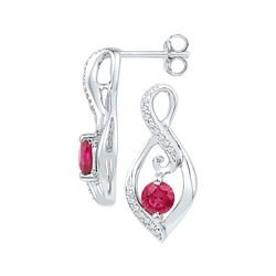 0.98 CTW Created Ruby Solitaire Oval Diamond Earrings 10KT White Gold - REF-19Y4X