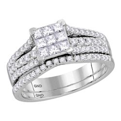1.04 CTW Princess Diamond Cluster Bridal Engagement Ring 14KT White Gold - REF-82Y4X