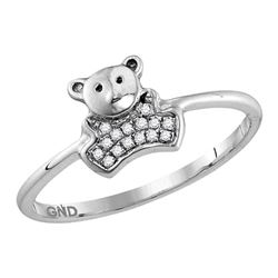 0.05 CTW Diamond Teddy Bear Cluster Ring 10KT White Gold - REF-10X5Y