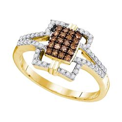 0.33 CTW Cognac-brown Color Diamond Square Ring 10KT Yellow Gold - REF-24K2W