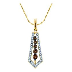 0.50 CTW Cognac-brown Color Diamond Vertical Journey Pendant 14KT Yellow Gold - REF-40F4N