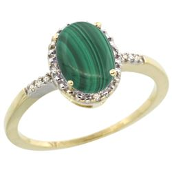 Natural 1.67 ctw Malachite & Diamond Engagement Ring 10K Yellow Gold - REF-15N9G