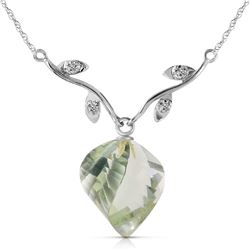 Genuine 13.02 ctw Green Amethyst & Diamond Necklace Jewelry 14KT White Gold - REF-43F3Z