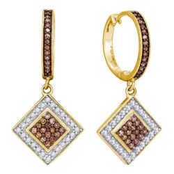 0.50 CTW Cognac-brown Color Diamond Diagonal Earrings 10KT Yellow Gold - REF-30N2F