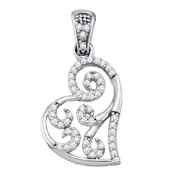 0.15 CTW Diamond Whimsical Heart Curled Pendant 10KT White Gold - REF-14X9Y