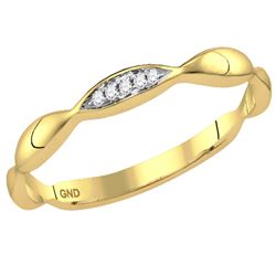 0.02 CTW Diamond Contour Stackable Ring 10KT Yellow Gold - REF-7N4F