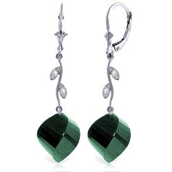 Genuine 30.52 ctw Green Sapphire Corundum & Diamond Earrings Jewelry 14KT White Gold - REF-66X2M