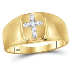 0.05 CTW Mens Diamond Cross Brushed Ring 10KT Yellow Gold - REF-14K9W