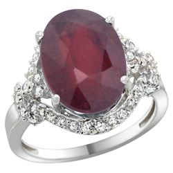 Natural 6.41 ctw ruby & Diamond Engagement Ring 14K White Gold - REF-96Z3Y