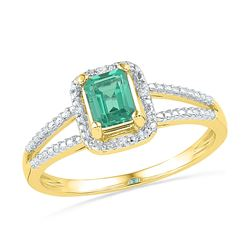 1.51 CTW Created Emerald Solitaire Diamond Split-shank Ring 10KT Yellow Gold - REF-13F4N