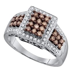 0.62 CTW Cognac-brown Color Diamond Square Cluster Ring 10KT White Gold - REF-37Y5X