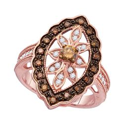 0.75 CTW Brown Color Diamond Oval Ring 10KT Rose Gold - REF-64M4H