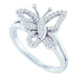 0.25 CTW Diamond Butterfly Bug Cluster Ring 14KT White Gold - REF-44X9Y