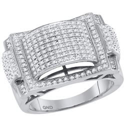 0.68 CTW Mens Pave-set Diamond Dome Convex Cluster Ring 10KT White Gold - REF-79M4H