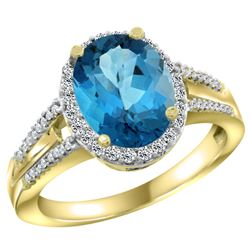 Natural 2.72 ctw london-blue-topaz & Diamond Engagement Ring 10K Yellow Gold - REF-45Y8X