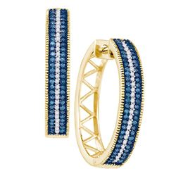 0.50 CTW Blue Color Diamond Hoop Earrings 10KT Yellow Gold - REF-52F4N