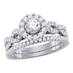 0.99 CTW Diamond Solitaire Halo Twisted Bridal Ring 14KT White Gold - REF-142K4W